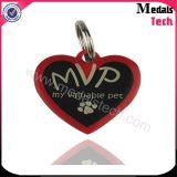 La figura del cuore ha messo le modifiche di cane BRITANNICHE riempite colore del metallo di marchio della bandierina