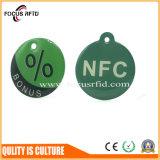Круглая форма RFID ключевой Fob с отверстием и логосом напечатала