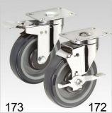 Purpurroter PU-Schwenker mit Bremsen-Platten-Oberseite-Fußrolle