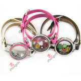 Young Girls Fashion Decoration (ZC-BL194-196)를 위한 PU Leather Locket Bracelet