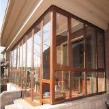 La parte superior de color madera fija de UPVC Casement ventana con doble vidrio