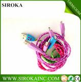 com Ce RoHS aprovou a tela cabo colorido trançado do USB do micro da carga da sincronização para o telemóvel