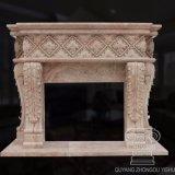 Estilo Europeu pesado lado entalhado lareira de mármore Mantel