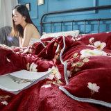 Комплект крышки Quilt зимы листа постельных принадлежностей одеяла овец фланели Coral