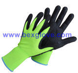 15gauge Nylon / Spandex Liner, Nitrile Coating, Micro-Foam, Points sur Palm Safety Gants
