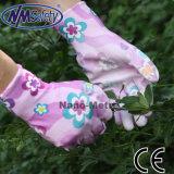 Перчатка покрытых повелительниц PU Nmsafety напечатанная цветком садовничая