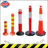 Rote T-Oberseite Plastikniedrige entfernbare temporäre Strecke-Gummischiffspoller