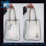 習慣によって印刷されるロゴのハンド・バッグの女性が付いているカスタマイズされた綿袋のショッピング・バッグ