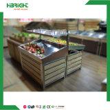 Cremagliera metallica di legno del basamento della mensola della frutta e della verdura della visualizzazione