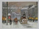 Scene impressionanti Handmade della via di Parigi nell'ambito della pittura a olio della neve