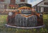 Grande vecchia maschera di arte della parete della pittura a olio dell'automobile di arte americana dell'azienda agricola