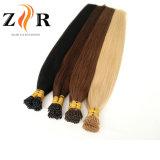 ブラウンカラー自然な引かれたインドの毛の小さい先端の人間の毛髪の拡張