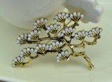 Moda banhados a ouro VAGULA Gingko Pearl Broche