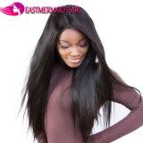100%plenamente humana Lace Peruca cabelo liso