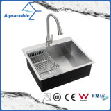 304 UPC populaire Topmount évier de cuisine en acier inoxydable (ACS2522A1)