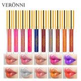 Em Stock Veronni diamante-Pérola descoloração Batom Líquido 10cores iridiscente Lipgloss