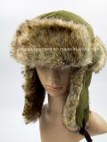Шлем зимы Ushanka шерсти Lambskin & кролика белый с щитком уха