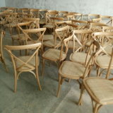 Hot Sale mobilier extérieur croix de bois retour mat Chaise en rotin