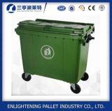 Grande contenitore di plastica verde resistente dell'immondizia 1100L