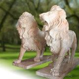 Un par de la estatua de Mármol de León la escultura, Escultura de animales
