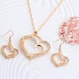 Conjuntos de plata cristalinos de la joyería del encadenamiento del color del modelo romántico del corazón