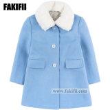 工場ブランドの赤ん坊の衣類の子供の衣服の冬の毛皮の女の子の方法摩耗の青いウールのコート