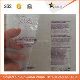 Étiquette auto-adhésive estampée transparente en plastique d'impression de papier de collant de PVC
