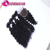 ヘアケア製品のインドのバージンの毛の深く巻き毛の未加工人間の毛髪の拡張