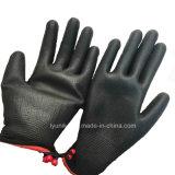 PU покрытием белого полиэстера вязаные стороны перчатки