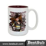 Bestsub Sublimation 15 Oz Two-Tone Ceramic Photo Mug (B21N-10)