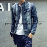 Chaqueta de mezclilla de moda de hombre Blue Splice Denim Coat
