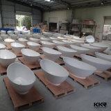Kkr 매트 백색 대리석 돌 자유로운 서 있는 타원형 욕조