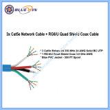 Het Schild van de gestructureerde Gebundelde Vierling 3X Cat5e + RG6/U van de Kabel overhaalt Combo Siamese Gebundelde Kabel van 500 voet