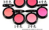 O cosmético pressionado cor de Popfeel 6 cora com escova e espelho