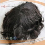 Full Poly Coated Perimeter Border Swiss Lace Full Human Hair Système Mens, Toupee