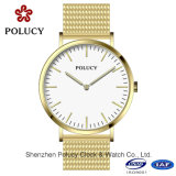Venda Por Atacado Geneva Quartz Men Watch Fashion Golden Mesh Belt Wrist Watch