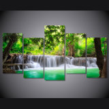 [هد] طبع أخضر استوائيّة شلال [بينتينغ كنفس] [برينت رووم] زخرفة طبعة ملصقة صورة نوع خيش [مك-033]