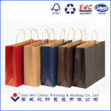 Reciclado de papel de color marrón plana manija Kraft bolsas de papel impresas por la máquina automática de bolsa de papel
