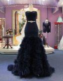 新しい到着の人魚の黒の夕方のパーティー向きのドレス