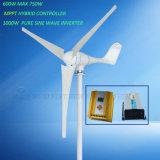 Gerador de Turbinas de Vento 500W + Controlador Híbrido MPPT + Inversor de 1000W para Sistema de Grade Off
