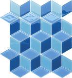 Azulejo de mosaico de piscinas de azuis mistos da onda