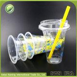 뚜껑을%s 가진 500ml 주문 처분할 수 있는 플라스틱 Boba 컵