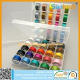De kleurrijke Draad van de Spoelen van Prewound van de Polyester 70d/2 in Transparante Doos
