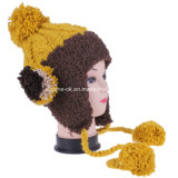 As meninas doces Multicolor tricotam manualmente com o chapéu de Earflap da esfera de lãs de veludo