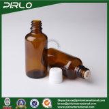 Botella ambarina de cristal con el casquillo y la pieza inserta inalterables para la botella de cristal del cuentagotas del petróleo cosmético