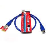 USB3.0 PCI-E expresan la potencia los 60cm del adaptador SATA 15pin de la tarjeta de la canalización vertical del suplemento de 1X To16X