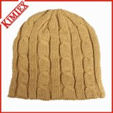 Lady's Fashion Acrílico Crochet Knit Pattern Cable Beanie