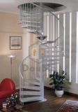 Escalera espiral de interior/al aire libre con el paso de progresión de madera o de acero