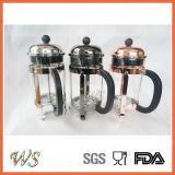 Pressa calda del francese del Borosilicate della pressa del caffè dell'acciaio inossidabile di vendita della pressa di rame del francese Wschmy004