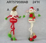 "24 ""H de madera con base Santa Snowman-2asst. Decoración de Navidad"